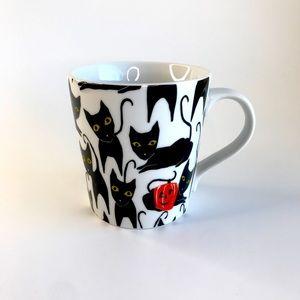 Crate & Barrel Halloween Cat Pumpkin Coffee Mug
